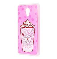 Чехол-накладка (Жидкий Блеск) Ice Cream Coffee для Meizu M6s Pink