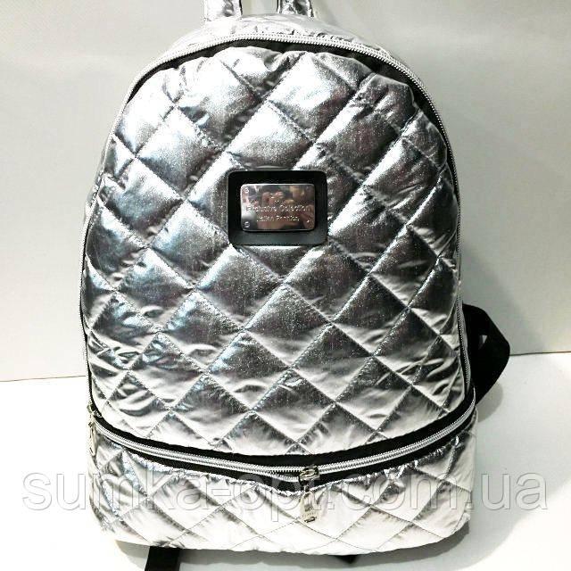 Женские рюкзаки стёганные (серебро)27*37см