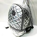 Женские рюкзаки стёганные (серебро)27*37см, фото 2
