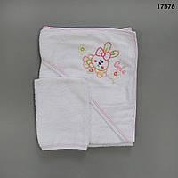 """Махровое полотенце-уголок """"Кролик"""" с варежкой для купания, 70х73 см"""
