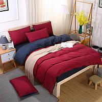 Комплект постельного белья Красно - синий (двуспальный-евро) Berni