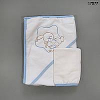 """Махровое полотенце-уголок """"Кролики"""" с варежкой для купания, 70х73 см"""