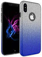 Чехол TOTO TPU Case Rose series Gradient 3в1 для iPhone X Blue (Glass32)