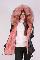 Парка Mr & Mrs Furs с мехом енота S Черно-малиновая