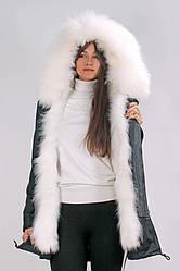 Парка Mr & Mrs Furs с мехом енота M Черно-белая