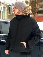 Мужская зимняя куртка с мехом черная Температурный режим до -25С