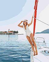 "Картина по номерам ""Прогулка на яхте"", отличный подарок, 40 х 50 см, Без Коробки"