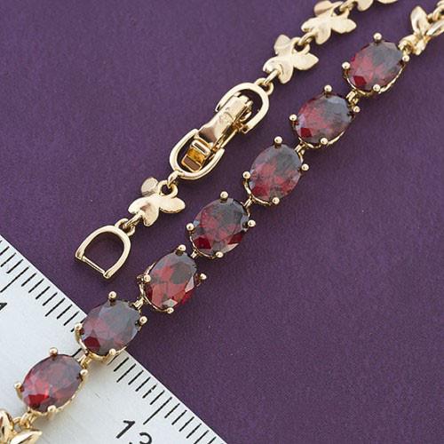 """Браслет XUPING  """"Бриллиант"""" 17/19,5 см красные камни, медицинское золото, позолота 18К"""