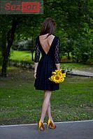 """Платье женское гипюровое """"открытая спина"""" Индиго"""