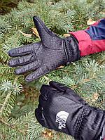Мужские зимние перчатки теплые с флисом the north face темные Реплика