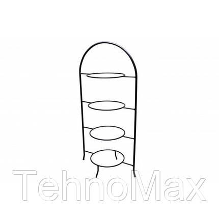 Стенд для тарелок 4 круглые подставки, нержавеющая сталь, фото 2