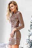 Женское золотистое платье с пайетками, фото 2