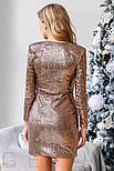 Женское золотистое платье с пайетками, фото 3