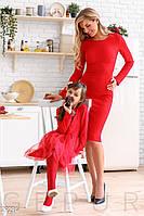 Красное облегающее платье с бантом