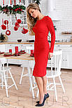 Красное облегающее платье с бантом, фото 3