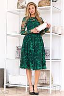 Изящное платье-миди изумрудного цвета