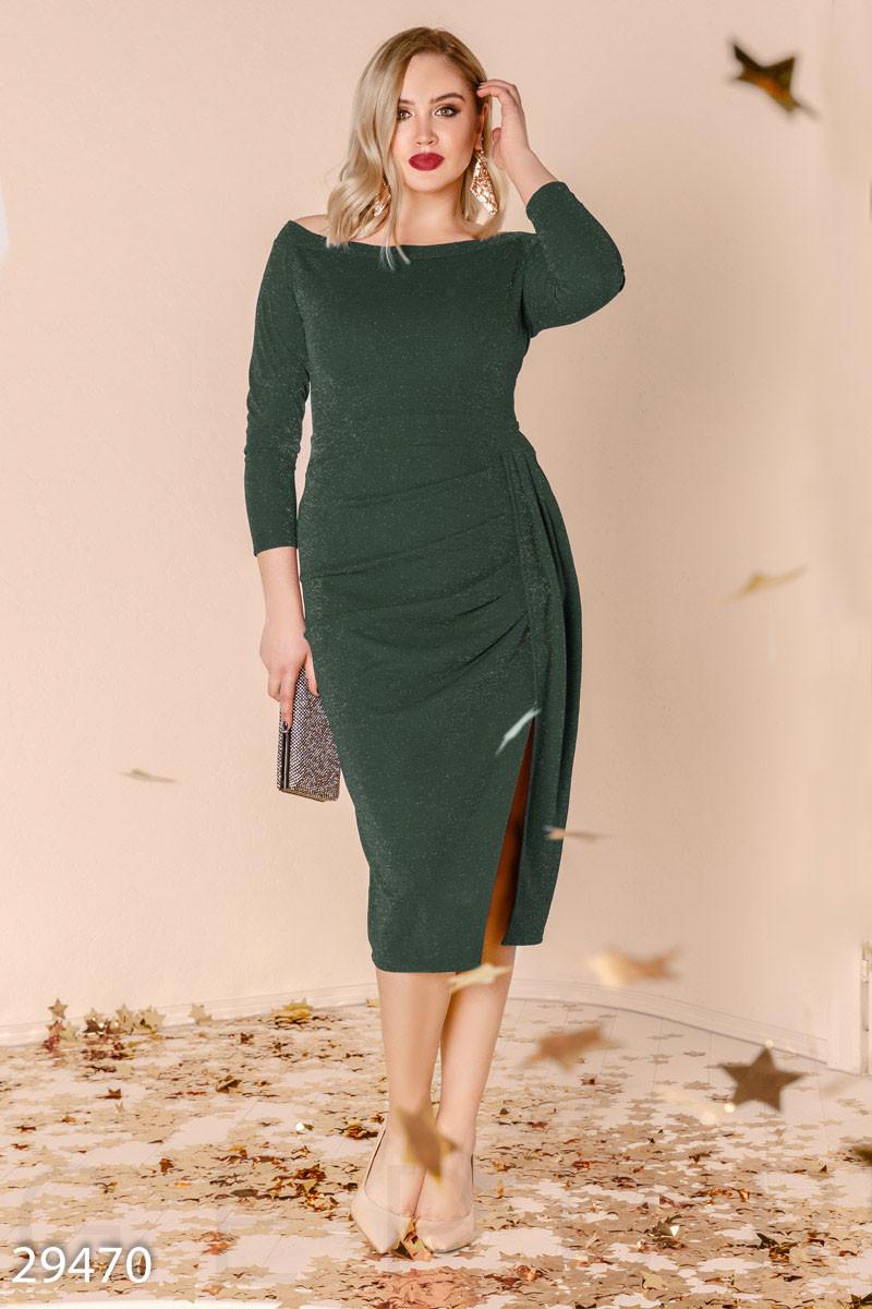 27aaca61341 Вечернее Платье-миди Зеленого Цвета с Разрезом — в Категории