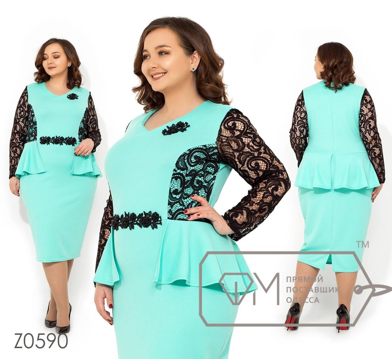 Платье в больших размерах с баской и кружевом на рукавах Z0590
