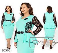 Платье в больших размерах с баской и кружевом на рукавах Z0590, фото 1