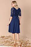 Стильное вечернее платье-миди синего цвета больших размеров, фото 3