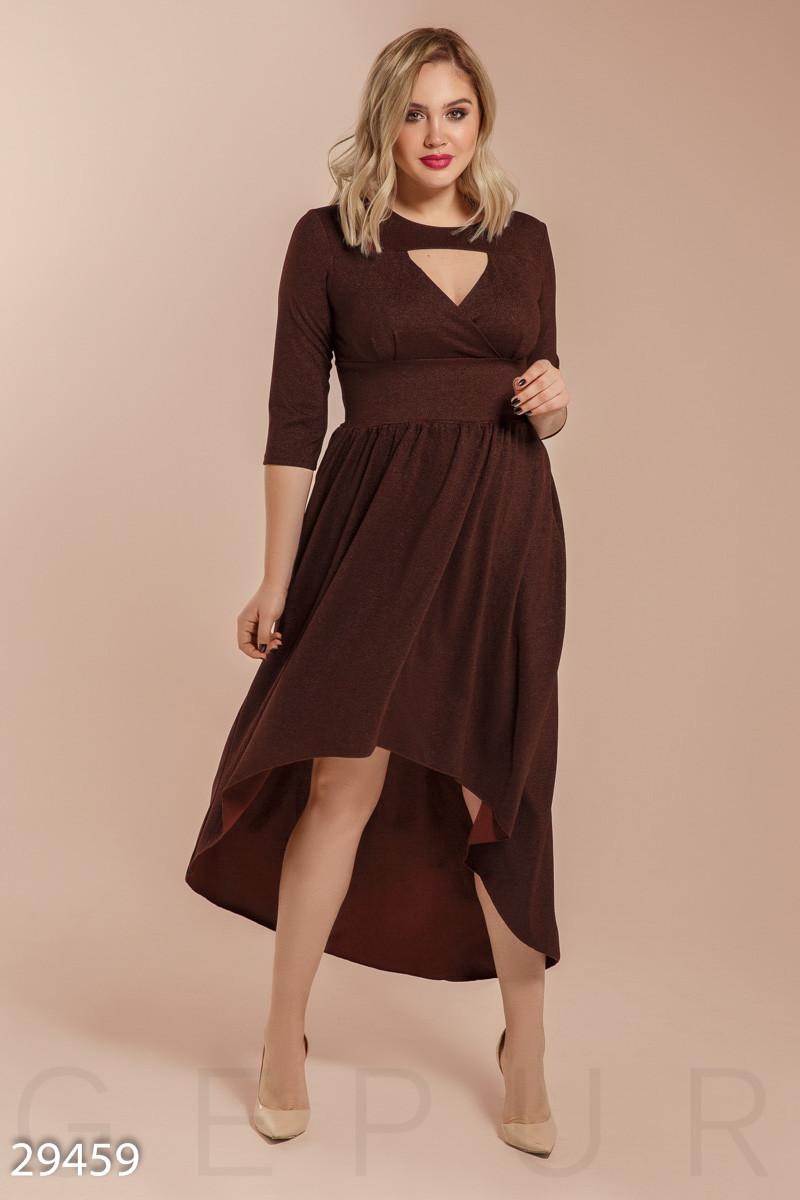 Вечернее ассиметричное платье коричневого цвета больших размеров