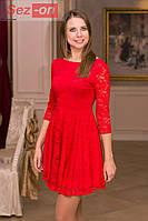 """Платье женское гипюровое """"открытая спина"""" Красный"""