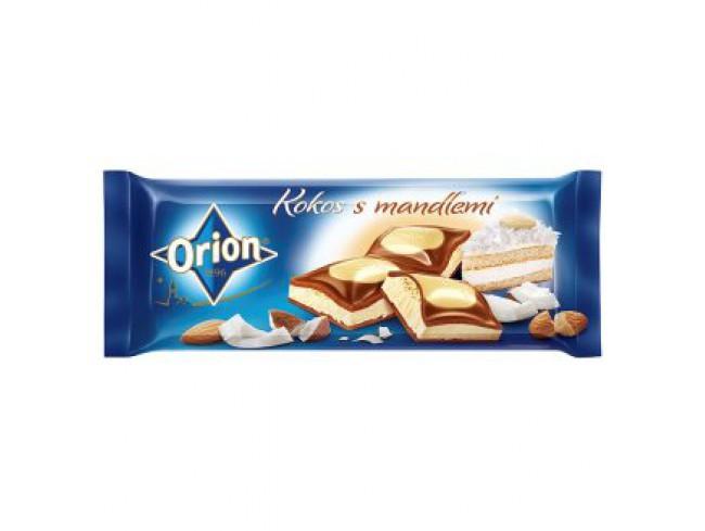 ORION молочно-белый шоколад с начинкой кокосового ореха с миндалем 240 г