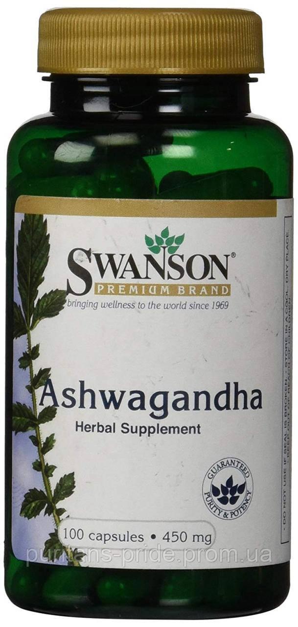 Антистресс, Индийский женьшень, Swanson, Ashwagandha 450 мг 100 капсул