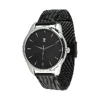 Мужские наручные часы «Белым по черному» (ремешок из нержавеющей стали черный)