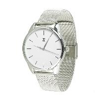 Модные наручные часы «Черным по белому» (ремешок из нержавеющей стали черный)