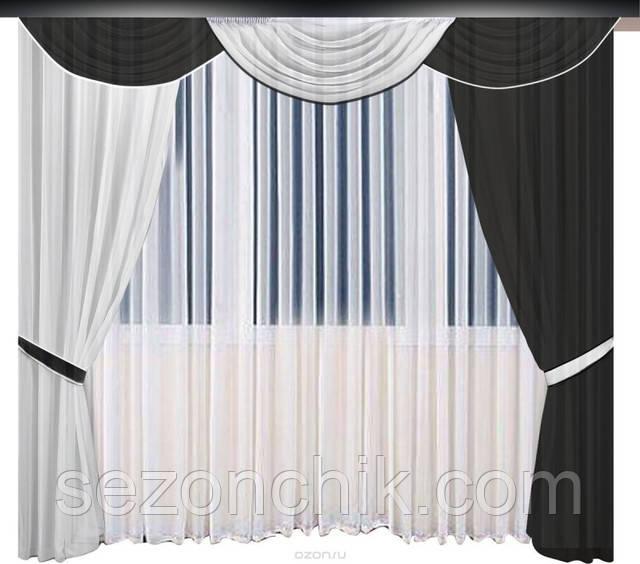 Стильные шторы для гостинной черно белые