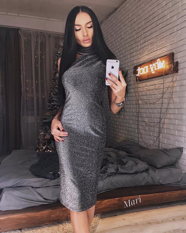 acd45cf94d3 Вечернее платье с необычным оформлением горла