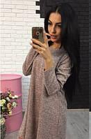 Женское демисезонное платье цвет пудровый, фото 1