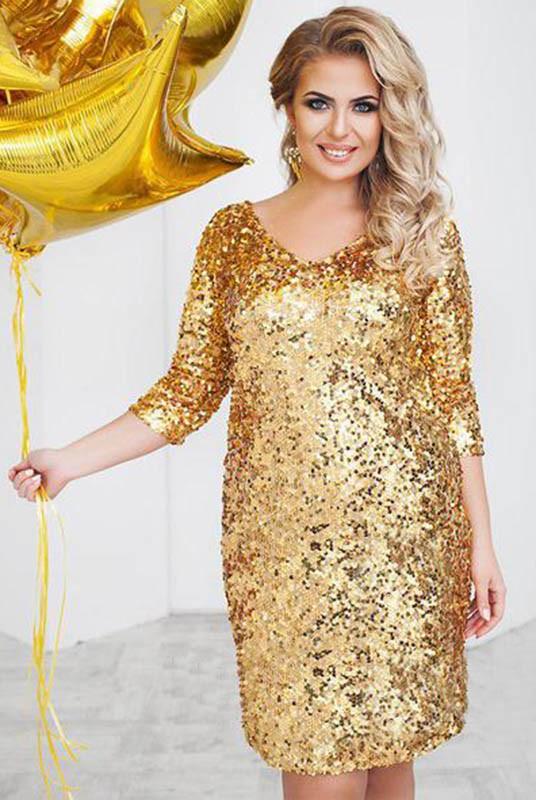 Золотое вечернее платье  Шайн большого размера