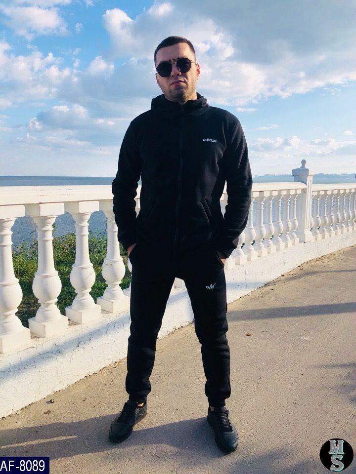 Мужской спортивный костюм Adidas 46-48, 48-50 турецкая трех нить Цвет чёрный