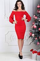 Платье срукавом буф, №97, красное.