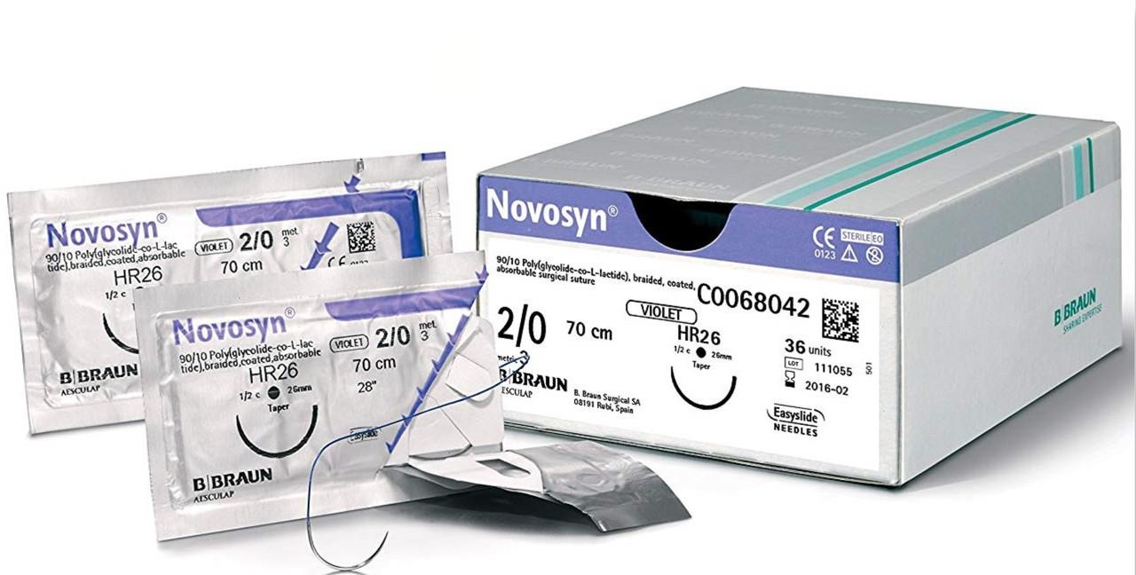 """Хірургічний шовний матеріал Новосин 2-0 (3) 70 см, кол. голка 37мм ТМ """"B. Braun"""""""