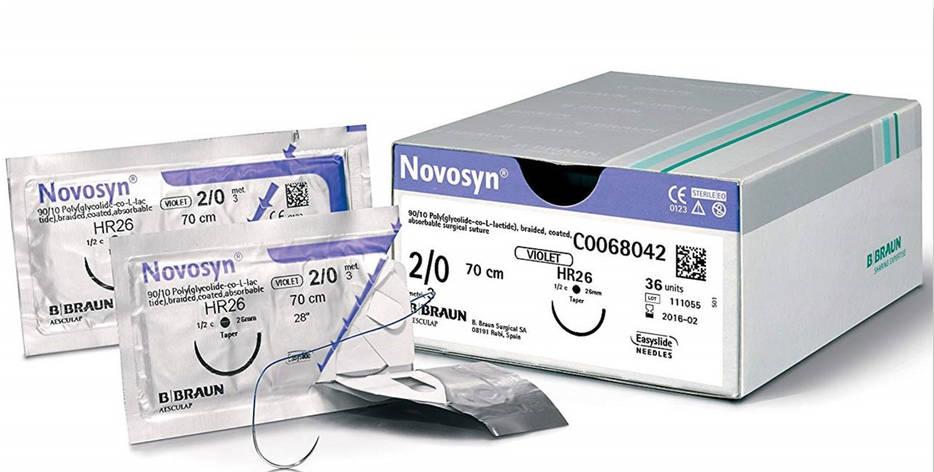 """Хірургічний шовний матеріал Новосин 2-0 (3) 70 см, кол. голка 37мм ТМ """"B. Braun"""", фото 2"""