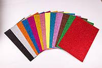 Набор детского творчества Фоамиран с блестками самоклеящийся MIX, 1.8 мм/10 листов, товары для творчества, фото 1
