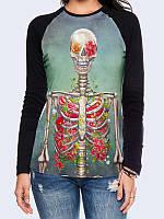 Лонгслив-реглан Скелет в цветах, фото 1