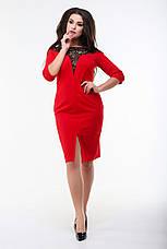 Платье мидис рукавом 3/4, красное. Фото реальные., фото 3