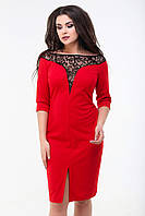 Платье мидис рукавом 3/4, №98, красное.