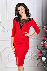 Платье мидис рукавом 3/4, красное. Фото реальные., фото 2