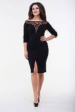 Платье мидис рукавом 3/4, чёрное. Фото реальные., фото 2