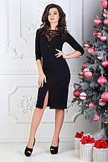 Платье мидис рукавом 3/4, чёрное. Фото реальные., фото 3