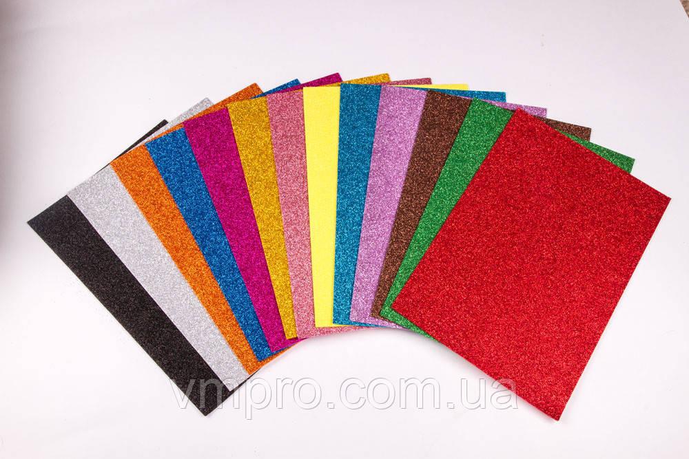 Фоамиран с блестками самоклеящийся 86-68, 1.8 мм/10 листов одного цвета.
