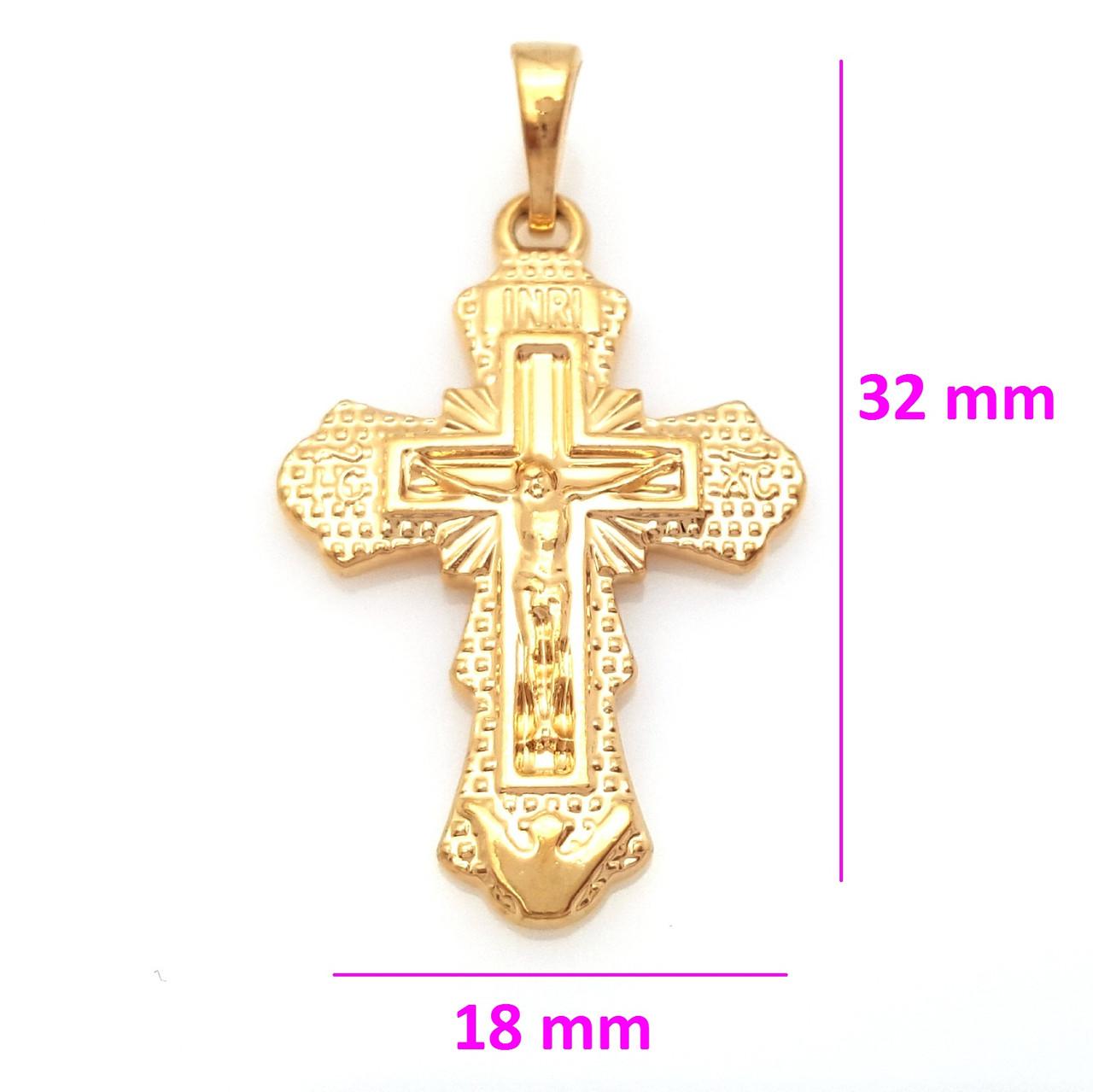 Крест  751026, Фигурный с распятием и точечным узором, позолота Xuping