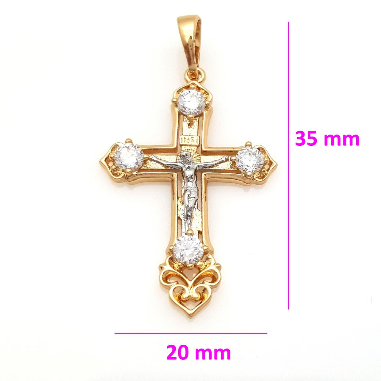 Крест 751027, с распятием, вставки камней, позолота+родий
