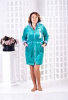 Домашний короткий халат с ушками  женский, фото 1