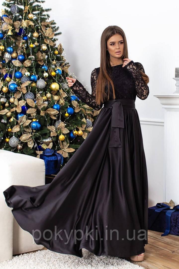 82ee5684fd0 Вечернее платье длинное в пол нарядное с длинным рукавом из гипюра черного  цвета